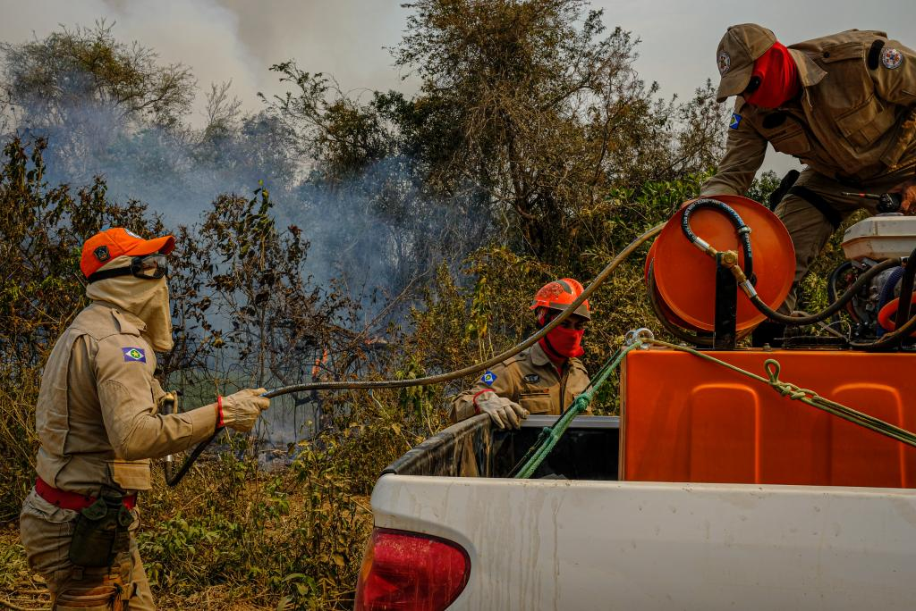 Corpo de Bombeiros e Sema iniciam queimas prescritas e aceiros no Parque Encontro das Águas, no Pantanal